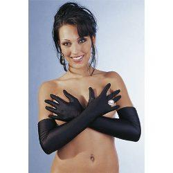 Cottelli Collection hosszú, fekete szatén kesztyű