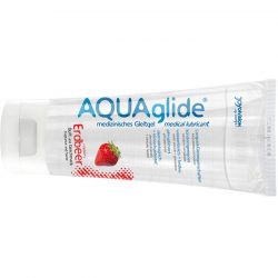AQUAglide Strawberry vízbázisú síkosító, eper aromával (100 ml)