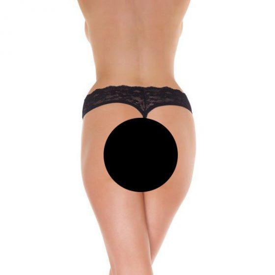 Amorable csipkés, alul nyitott női alsó (fekete)