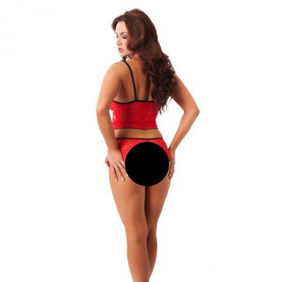 Amorable piros csipkés felső és tanga, fűzős díszítéssel