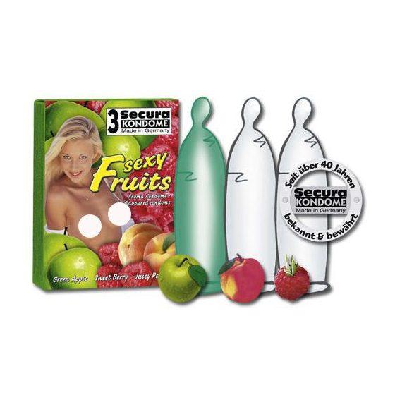 Secura Sexy Fruits 3 db gyümölcsízű óvszer !MEGSZŰNT TERMÉK!