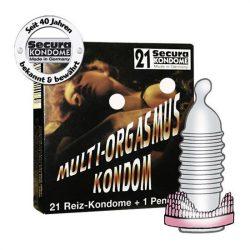 Secura Multi Orgasmus 21 db bordázott óvszer, péniszgyűrűvel