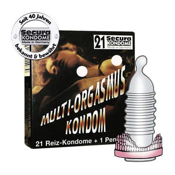 Secura Multi Orgasmus 21 db bordázott óvszer, péniszgyűrűvel !MEGSZŰNT TERMÉK!