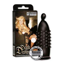 Secura Dark Desire 12 db rücskös felületű, fekete óvszer