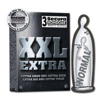 Secura XXL Extra 3 db extra méretű, erősített anyagú óvszer