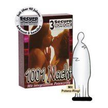 Secura 1001 Nacht 3 db óvszer, potenciagyűrűvel