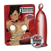 Secura Sweet Strawberry 3 db óvszer, eper aromával