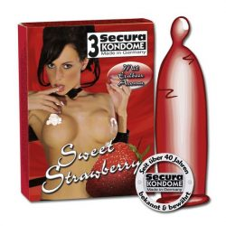 Secura Sweet Strawberry 3 db óvszer, eper aromával