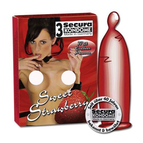 Secura Sweet Strawberry 3 db óvszer, eper aromával !MEGSZŰNT TERMÉK!