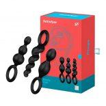 Satisfyer Plugs 3 db-os dildó szett (fekete)