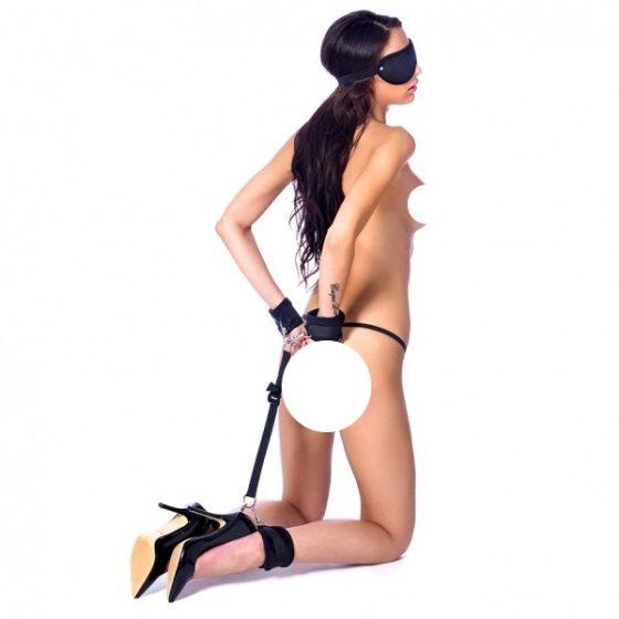 Rimba tépőzáras csuklók a bokákhoz készlet, szemmaszkkal (fekete)