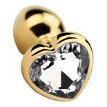 Fém fenékdugó, szív formájú, áttetsző kristállyal (arany színű)