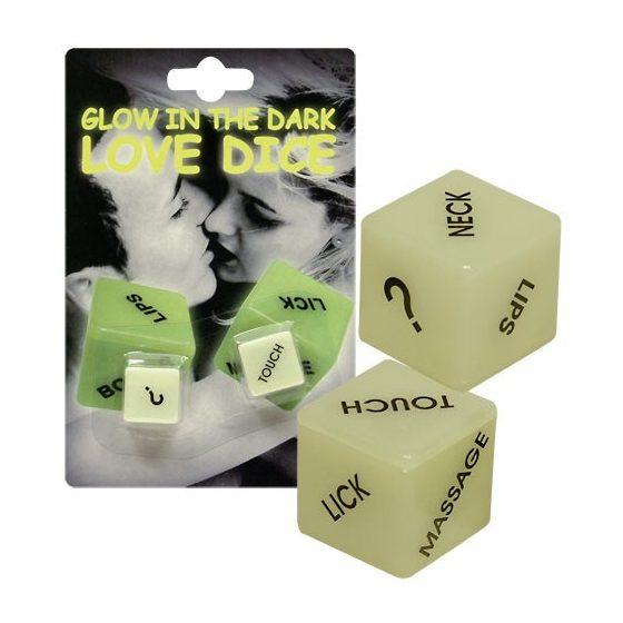 Glowing Love Dice sötétben fluoreszkáló dobókockák !MEGSZŰNT TERMÉK!