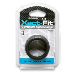 Perfect Fit Xact-Fit 3 db-os péniszgyűrű készlet (S-M)