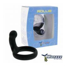 Manzzz Toys Rollie péniszgyűrű, perineum izgatóval (fekete)