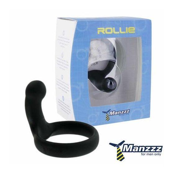 Manzzz Toys Rollie péniszgyűrű, perineum izgatóval (fekete) !MEGSZŰNT TERMÉK!