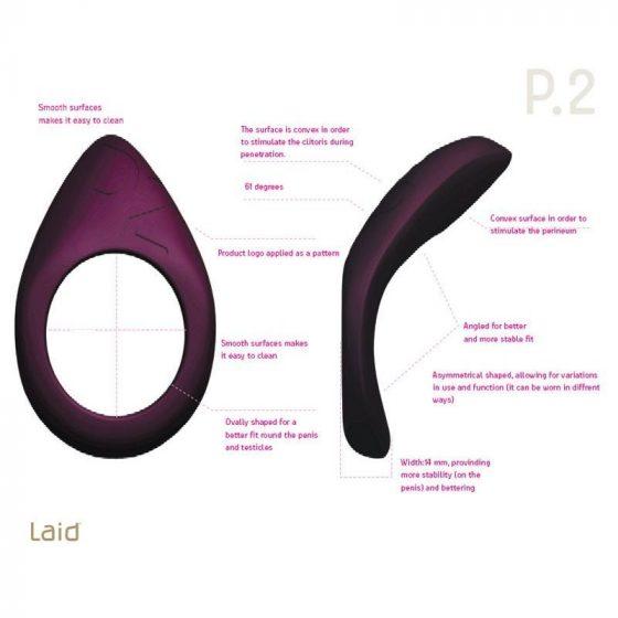 Laid P.2 péniszgyűrű (51,5 mm, fekete)