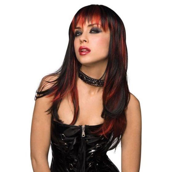 Pleasure Courtney paróka (fekete, vörös csíkokkal) !MEGSZŰNT TERMÉK!