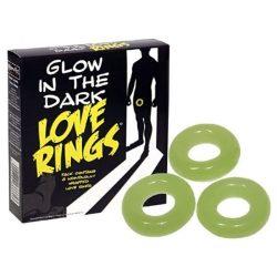 Sötétben világító péniszgyűrű (3 db)