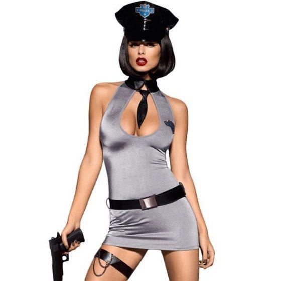 Obsessive rendőrnő jelmez (szürke) !MEGSZŰNT TERMÉK!