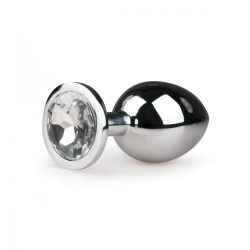 Easy Toys fém fenékdugó, áttetsző kristállyal (M méret, ezüst)