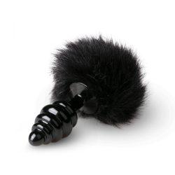 Easy Toys redőzött fém fenékdugó, nyuszifarokkal (fekete/fekete)