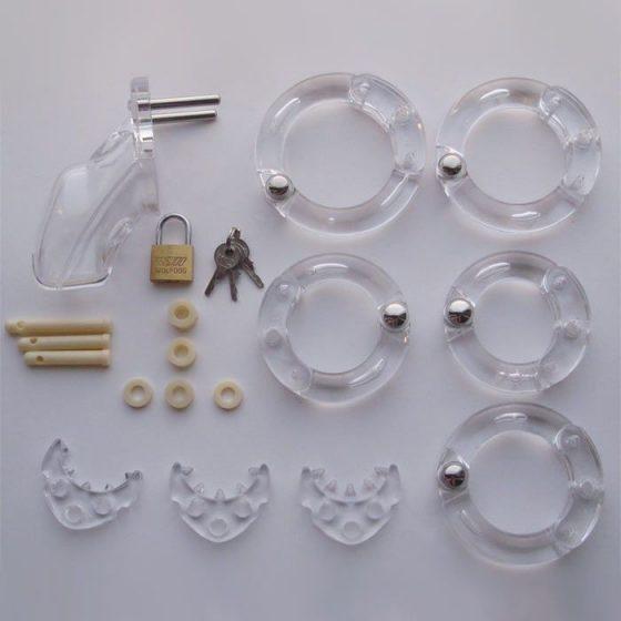 Műanyag péniszzár, kiegészítőkkel (M méret) !MEGSZŰNT TERMÉK!