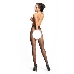 MissO nyitott harisnyanadrág, csíkos mintával (fekete)
