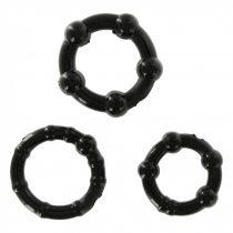 Get Hard 3 db-os péniszgyűrű szett (fekete)